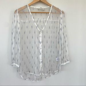 Sheer button down top with metallic touches